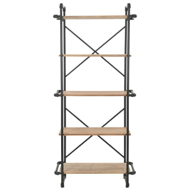 vidaXL Regał na książki z drewna jodłowego i stali, 80 x 42 x 180 cm[2/10]