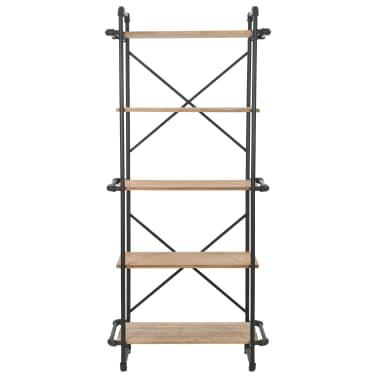 vidaXL Knygų lentyna, eglės mediena ir plienas, 80x42x180cm[2/10]