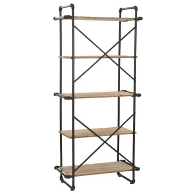vidaXL Regał na książki z drewna jodłowego i stali, 80 x 42 x 180 cm[3/10]