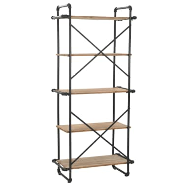 vidaXL Knygų lentyna, eglės mediena ir plienas, 80x42x180cm[3/10]