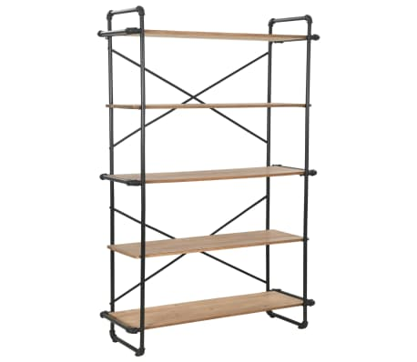 "vidaXL Bookcase Solid Firwood and Steel 47.2""x16.5""x70.8""[1/9]"