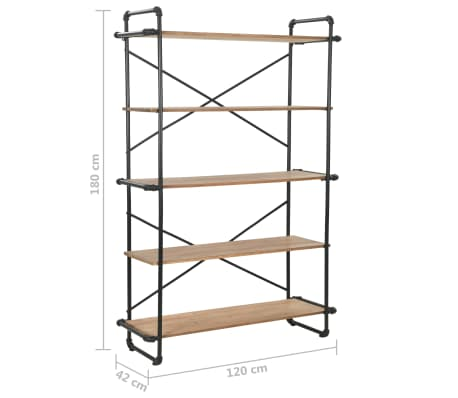 "vidaXL Bookcase Solid Firwood and Steel 47.2""x16.5""x70.8""[9/9]"