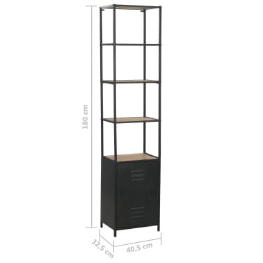 "vidaXL Bookcase Solid Firwood and Steel 15.9""x12.7""x70.8""[10/10]"