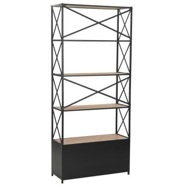 vidaXL Regał na książki z drewna jodłowego i stali, 80 x 32,5 x 180 cm[3/13]