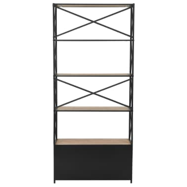 "vidaXL Bookcase Solid Firwood and Steel 31.4""x12.7""x70.8""[4/13]"