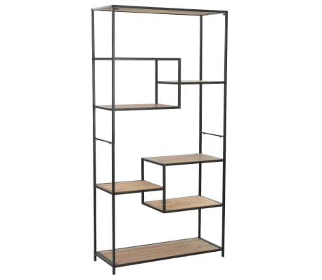 "vidaXL Bookcase Solid Firwood and Steel 35.6""x13.7""x70.8"""