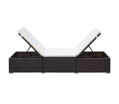 vidaxl sonnenliege poly rattan 195 x 60 x 31 cm braun und cremewei g nstig kaufen. Black Bedroom Furniture Sets. Home Design Ideas