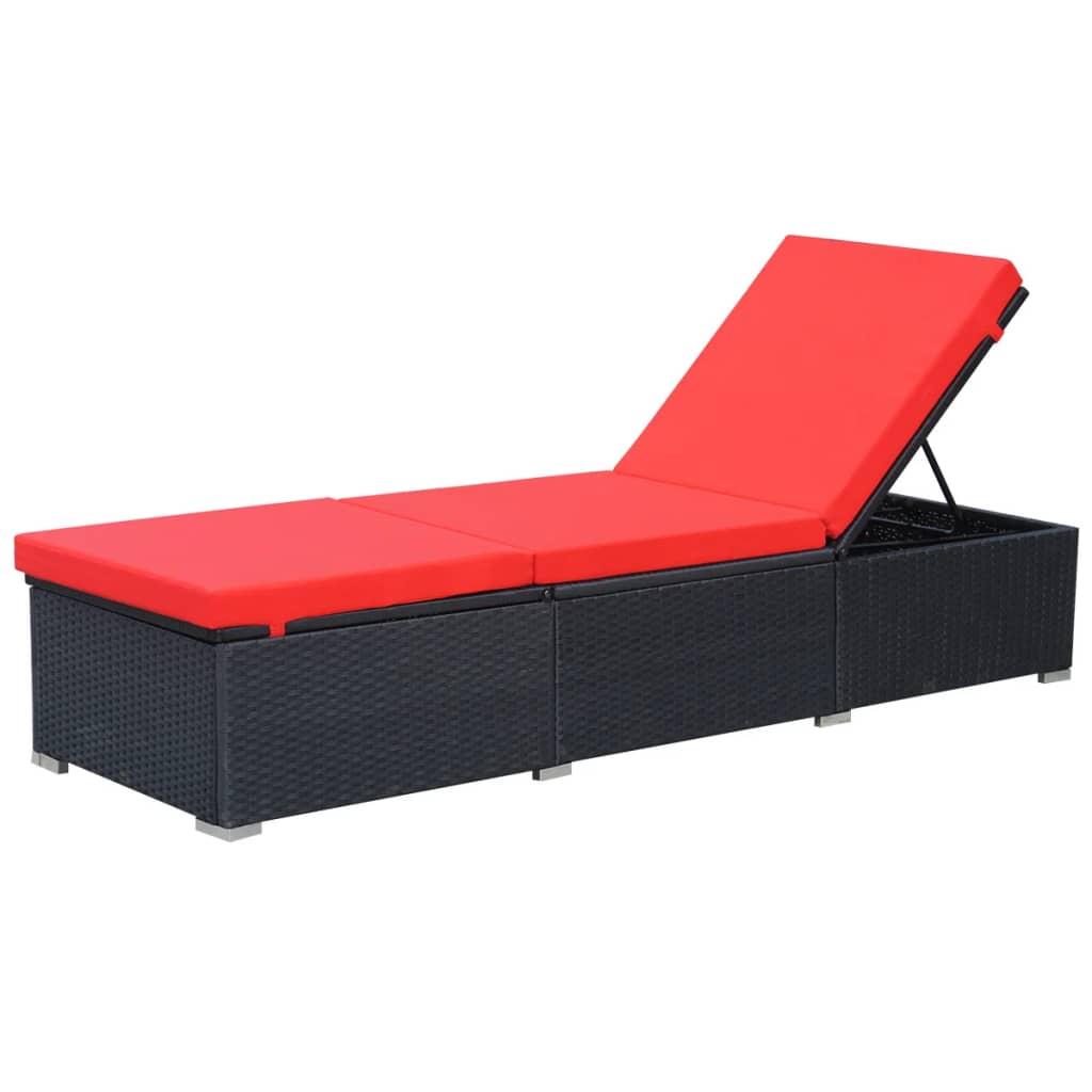 Afbeelding van vidaXL Ligbed 195x60x31 cm poly rattan zwart en rood