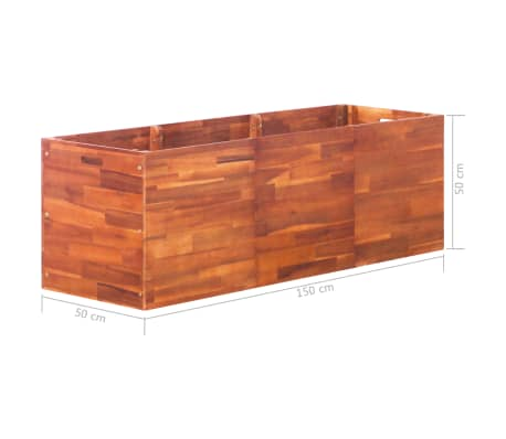 vidaXL Vrtna sadilica od bagremovog drva 150 x 50 x 50 cm[6/6]