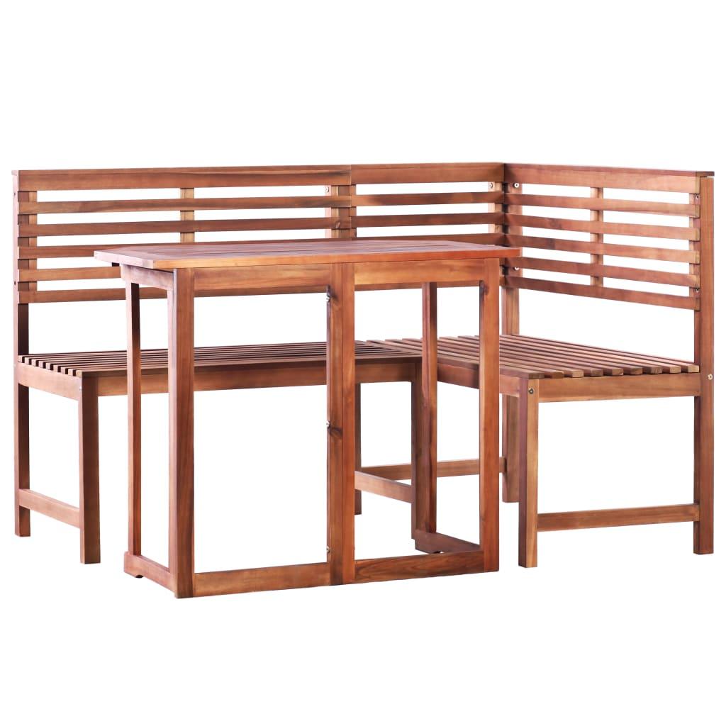 vidaXL Σετ Γωνιακό Παγκάκι/Τραπέζι Βεράντας 2 τεμ. Μασίφ Ξύλο Ακακίας