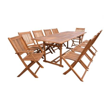 vidaXL 11 pcs conjunto de jantar exterior madeira de acácia maciça