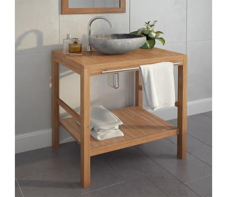vidaXL Meuble-lavabo de salle de bains Teck massif 74x45x75 cm[1/9]