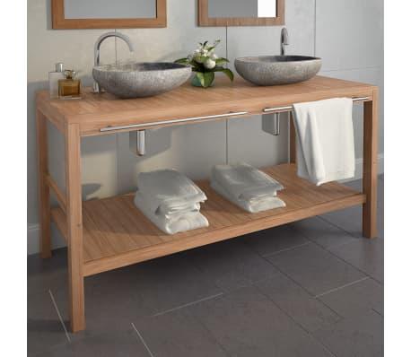vidaXL Meuble-lavabo de salle de bains Teck massif 132x45x75cm[1/10]