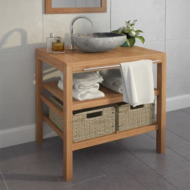 vidaXL Meuble de salle de bain avec 2 paniers Teck massif 74x45x75 cm[1/9]