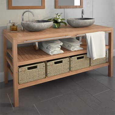 vidaXL Meuble de salle de bains avec 4 paniers Teck massif 132x45x75cm[1/11]