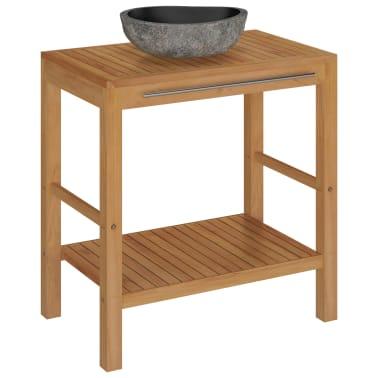 vidaXL Шкаф за баня от тиково дърво масив с мивка от речен камък[2/12]