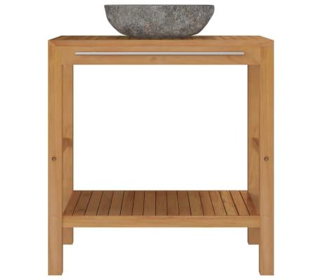 vidaXL Шкаф за баня от тиково дърво масив с мивка от речен камък[3/12]