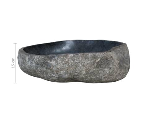 vidaXL Шкаф за баня от тиково дърво масив с мивка от речен камък[11/12]