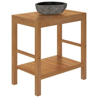 vidaXL Шкаф за баня от тиково дърво масив с мивка от речен камък[5/12]