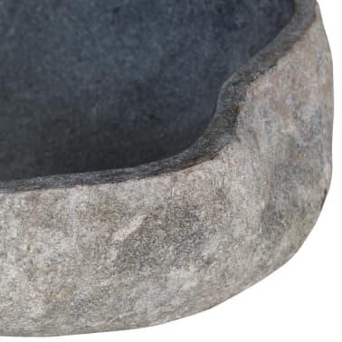 vidaXL Шкаф за баня от тиково дърво масив с мивка от речен камък[8/12]