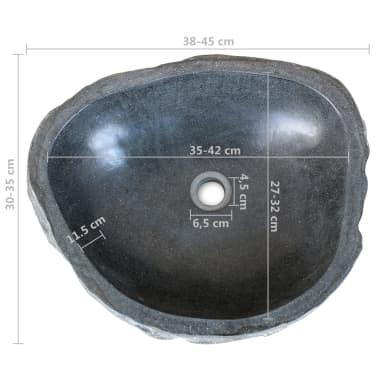 vidaXL Шкаф за баня от тиково дърво масив с мивка от речен камък[10/12]