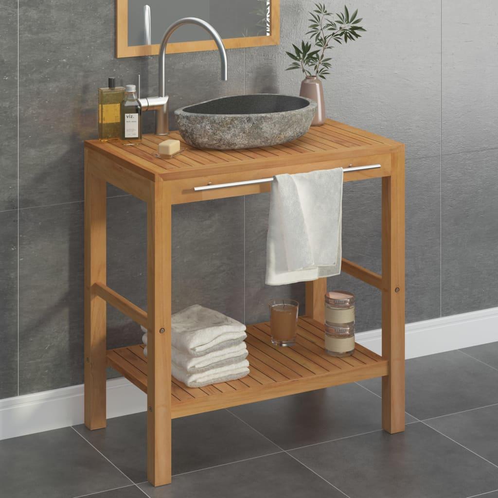Koupelnová skříňka ze dřeva teak a umyvadlo z říčního kamene