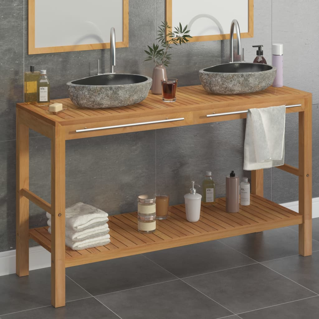 Koupelnová skříňka ze dřeva teak a umyvadla z říčního kamene