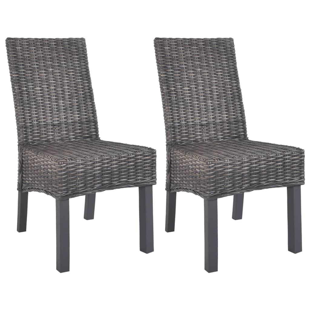 vidaXL Καρέκλες Τραπεζαρίας 2 τεμ. Καφέ από Ρατάν Kubu και Ξύλο Μάνγκο