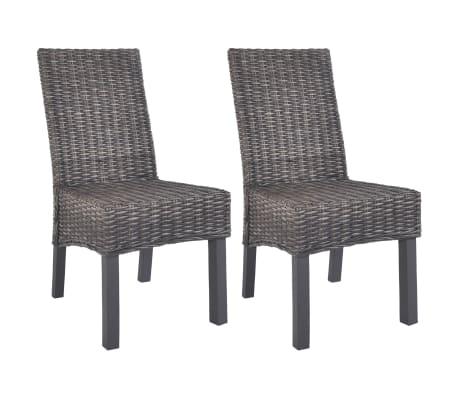vidaXL Dining Chairs 2 pcs Brown Kubu Rattan and Mango Wood