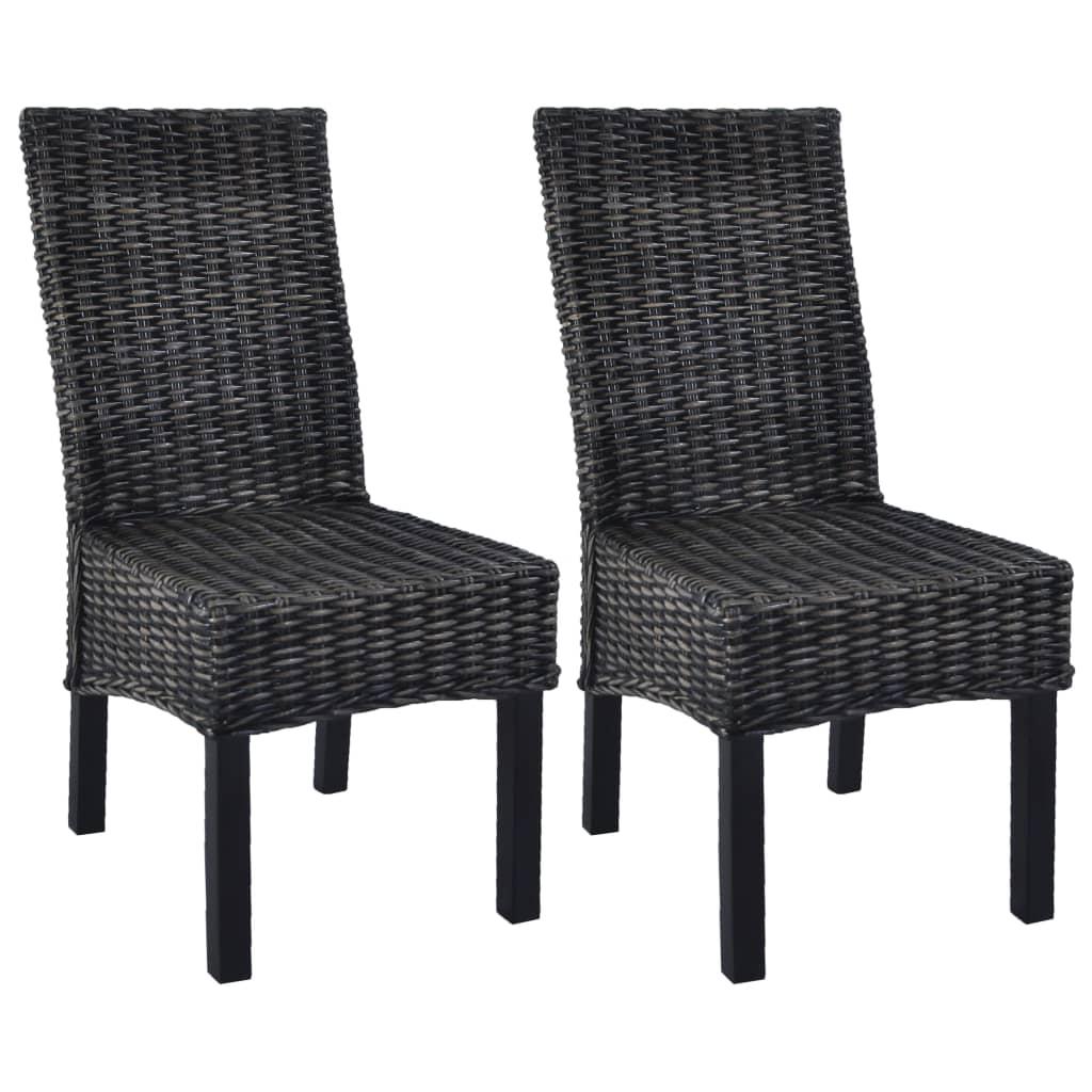 vidaXL Καρέκλες Τραπεζαρίας 2 τεμ. Μαύρες από Ρατάν Kubu / Ξύλο Μάνγκο