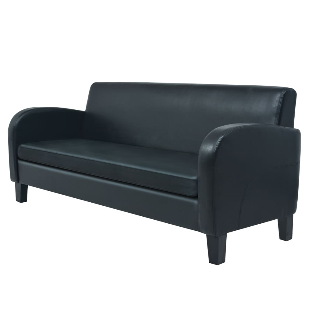 vidaXL Bankstel kunstleer zwart 2-delig