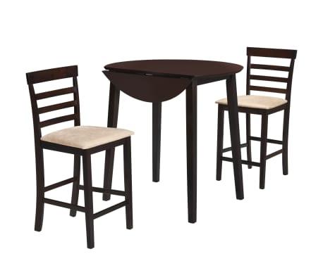 Vidaxl Jeu De Table Et Chaise 3 Pcs Bois Massif Marron Fonce