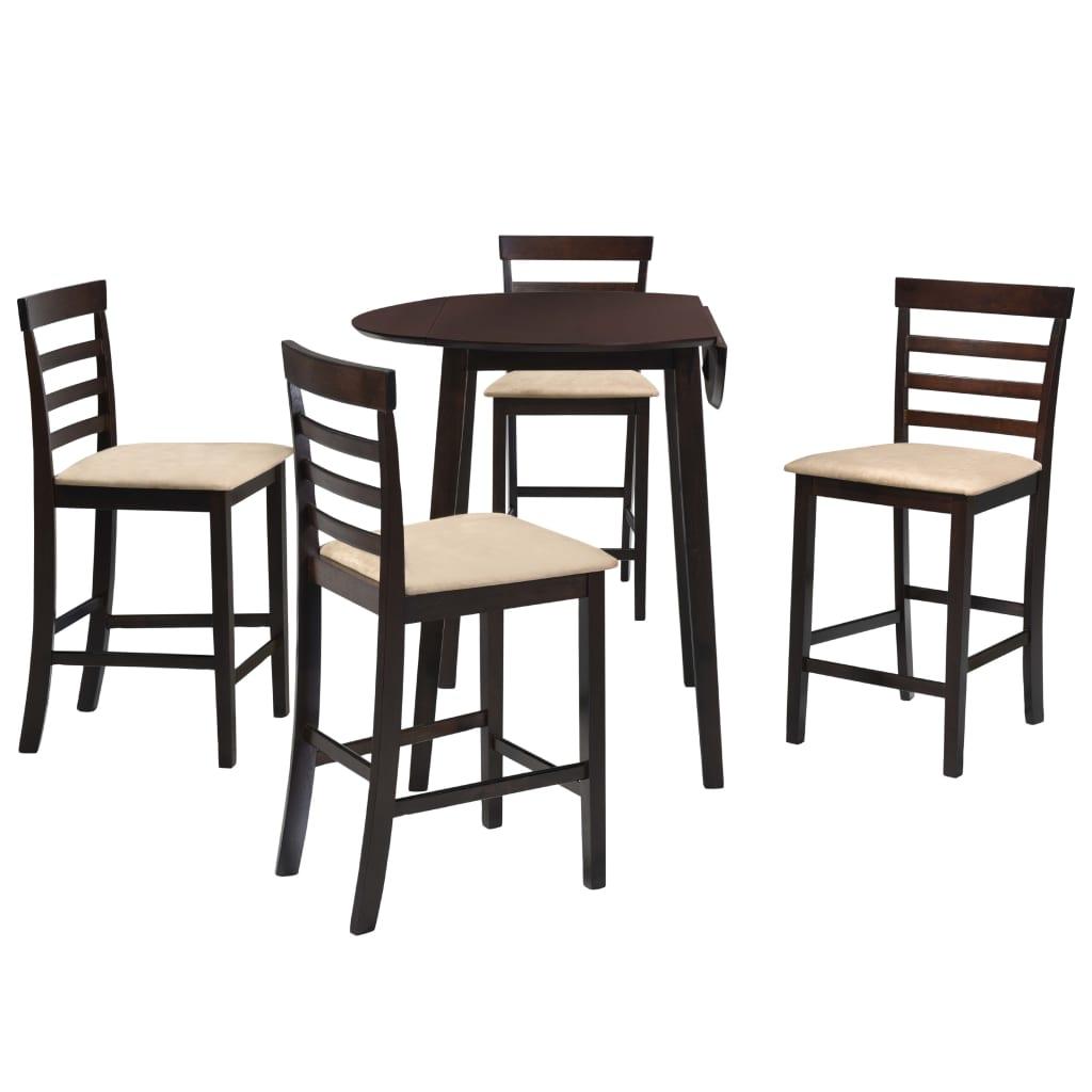 vidaXL Set masă și scaune de bar, 5 piese, lemn masiv, maro închis vidaxl.ro