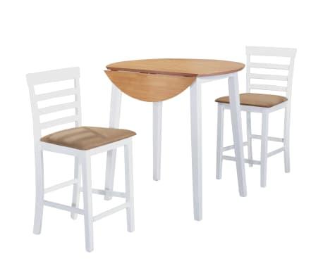 Set Tavolo E Sedie.Dettagli Su Vidaxl Set Tavolo E Sedie Da Bar 3 Pz Legno Massello Naturale E Bianco Cucina