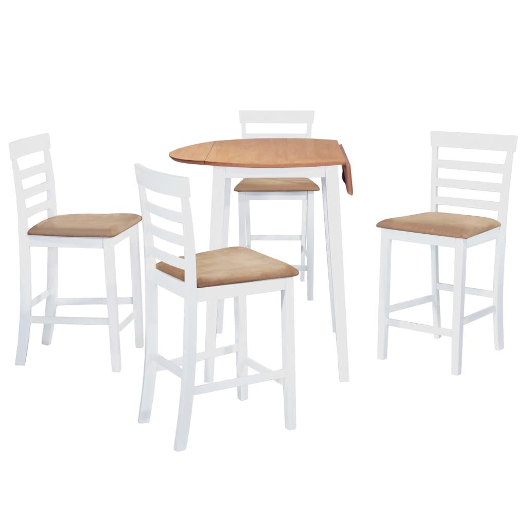 vidaXL Set masă și scaune de bar, 5 piese, lemn masiv, natural și alb vidaxl.ro