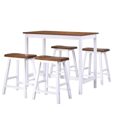 vidaXL Baro stalo ir kėdžių komplektas, 5d., masyvi mediena[2/13]