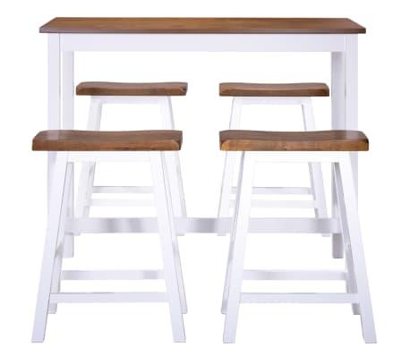 vidaXL Baro stalo ir kėdžių komplektas, 5d., masyvi mediena[4/13]