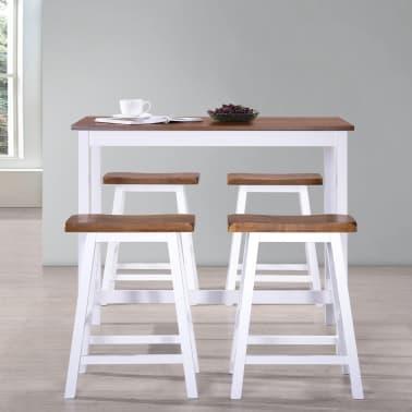 vidaXL Baro stalo ir kėdžių komplektas, 5d., masyvi mediena[3/13]