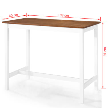 vidaXL Baro stalo ir kėdžių komplektas, 5d., masyvi mediena[12/13]