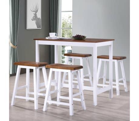 vidaXL Baro stalo ir kėdžių komplektas, 5d., masyvi mediena[1/13]