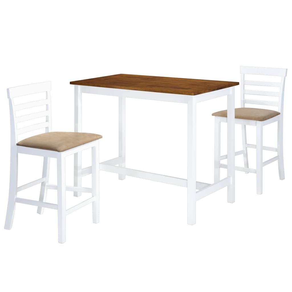 vidaXL Σετ Τραπέζι και Καρέκλες Μπαρ 3 τεμ. Καφέ & Λευκό Μασίφ Ξύλο