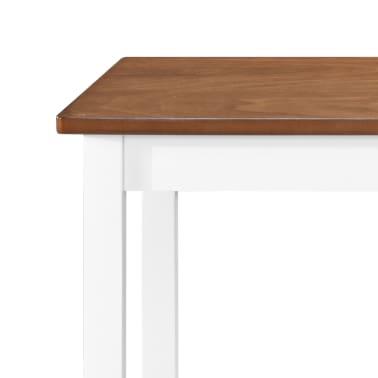 vidaXL Bartafel- en barstoelenset massief hout bruin en wit 3-delig[4/9]