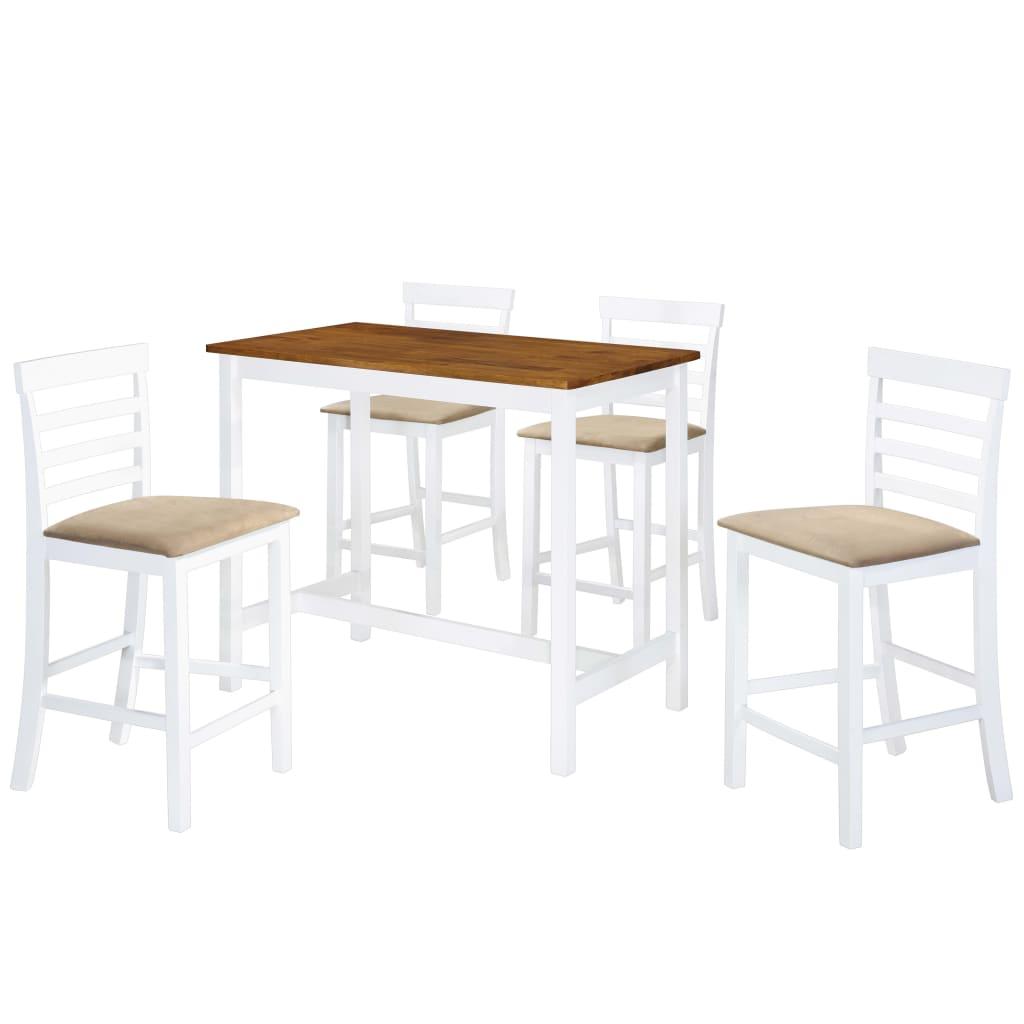 vidaXL Σετ Τραπέζι και Καρέκλες Μπαρ 5 τεμ. Καφέ & Λευκό Μασίφ Ξύλο
