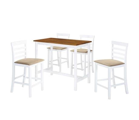 vidaXL Barska miza in stoli 5-delni komplet trden les rjava in bela[1/9]