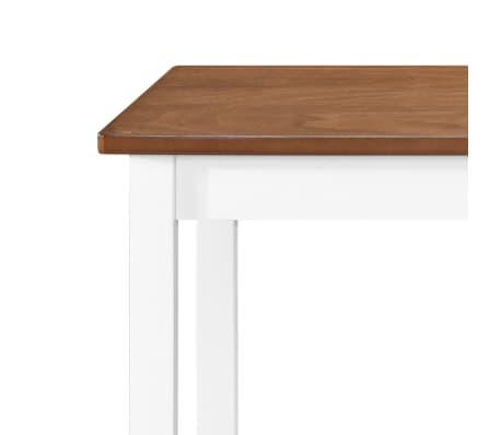 vidaXL Barska miza in stoli 5-delni komplet trden les rjava in bela[4/9]