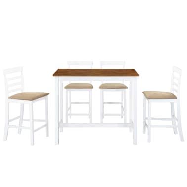 vidaXL Barska miza in stoli 5-delni komplet trden les rjava in bela[2/9]