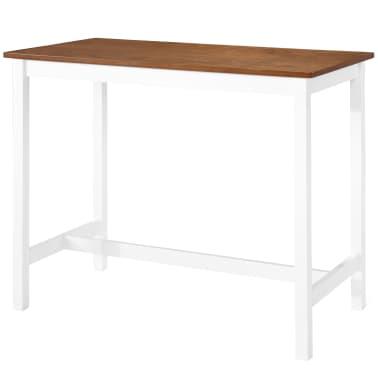 vidaXL Barska miza in stoli 5-delni komplet trden les rjava in bela[3/9]