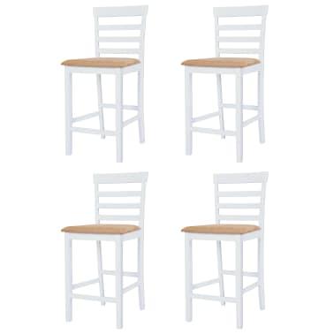 vidaXL Barska miza in stoli 5-delni komplet trden les rjava in bela[5/9]