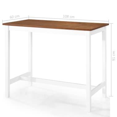 vidaXL Barska miza in stoli 5-delni komplet trden les rjava in bela[8/9]