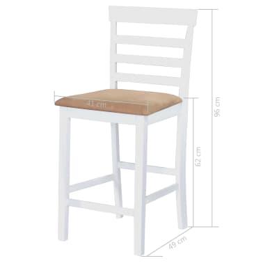 vidaXL Barska miza in stoli 5-delni komplet trden les rjava in bela[9/9]